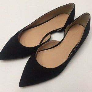 J Crew Audrey Flats Shoes Suede Black Women Sz 9.5